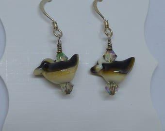 Earrings-Bird earrings on silver
