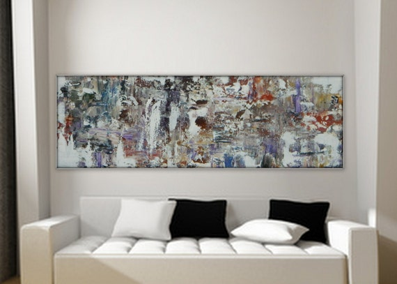 "Sample for Custom Order ~ Large long original abstract painting by MARCY CHAPMAN 36"" x 12"""