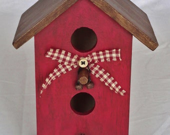 Hand Painted, Rustic, Country, Indoor, Bird House Decoration