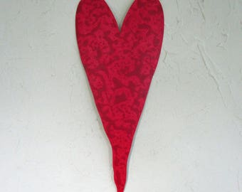 Valentines Day Metal Wall Art heart Sculpture Valentine Heart Red Reclaimed Metal Wall Decor Weddings Anniversary 6 x 16