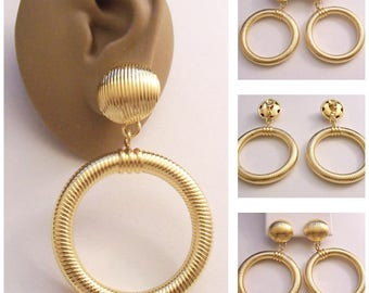 Monet Jumbo Fine Lined Clip On Earrings Gold Tone Vintage Extra Large Long Round Tube Big Top Dome Button Polished Dangles