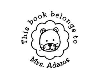 this book belongs to Teacher Lion custom Rubber Stamp bookplate ex libris