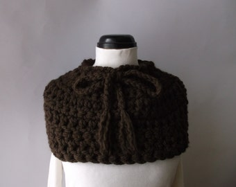 Brown Scarf Cowl Woman's soft chunky brown neck warmer Ready to ship