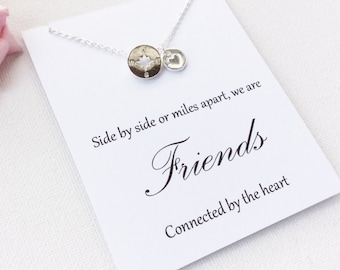 compass, compass necklace, graduation gift, compass jewelry, compass charm, silver compass, friendship gift, best friend gift, friendship
