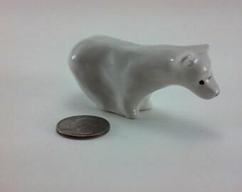 Small Polar Bear Sculpture Decorative Miniature Snowflake