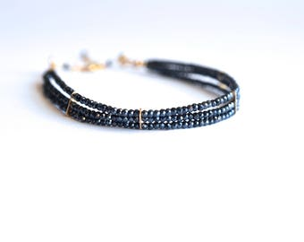 Lauren - Black Spinel Three Strand Gold Filled Bracelet