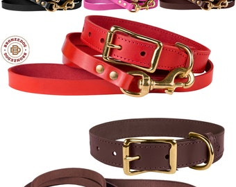 Classic Leather Dog Collar Leash Set Brass Hardware Black Brown Red Pink