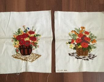 Vintage 1970's Unframed Embroideries | Set of Two Floral Basket Embroideries