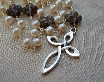 Dominican/Catholic Rosary Beads with Freshwater Pearls, Smokey Quartz and Sterling Silver