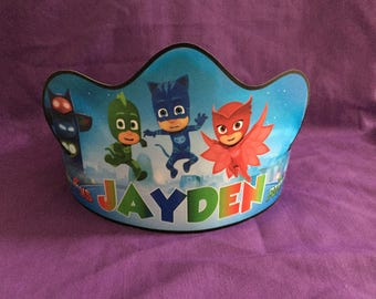 PRINTABLE Personalized PJ Masks Birthday Crown / Party Hat  (Digital file ONLY)