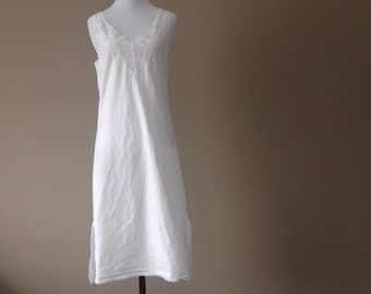 S / Barbizon Full Slip / White Cotton with Lace / Small / Vintage Shapewear Lingerie / FREE USA Shipping