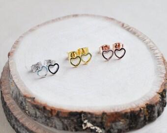 Heart Earrings, Small Heart Earrings, Heart Stud Earrings, Gold Heart Earrings, Silver Heart Earrings, Rose Gold Earrings, Everyday Earrings