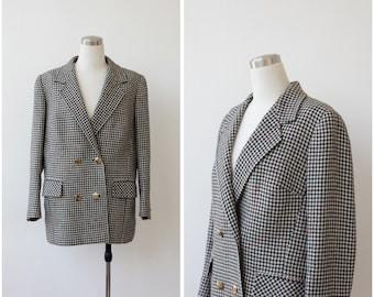 Vintage Houndstooth Jacket 1980's Wool Plaid Jacket Black and White Wool Coat Oversized Boxy Winter Jacket
