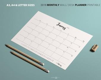 2018 Printable MONTHLY Planner. Minimalist MONDAY week Calendar. Black white. A3 A4 Letter. Business Planner Family Calendar Desk calendar