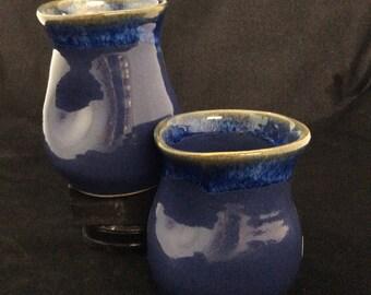 Large Thumblers/ handmade/ Deep sea blue Glaze