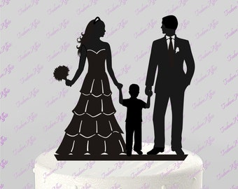 FREE SHIPPING!! Ships Next Day! Wedding Cake Topper Silhouette Groom and Bride with little Boy - Family; BLACK Acrylic Cake Topper [CT83b]