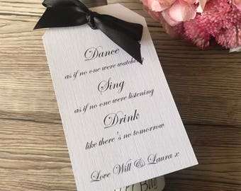 Wine bottle wedding favour tags, pack of 12, wine label, wedding stationery, wedding reception, table decorations, wedding favour tags