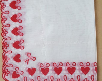 Red and White Vintage Hankie Ribbons and Hearts Happy Valentines