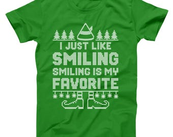 Smiling's My Favorite The Elf Funny Christmas Movie Cosutme Basic Men's T-Shirt DT1636