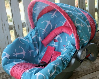 teal/aqua/turquoise and white anchors with coral minky infant car seat cover and hood cover