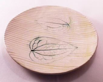 Handmade pottery clematis leaves, ceramic leaves, ceramic plate, natural pottery, modern plate