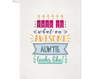 This Is What An Awesome Auntie Looks Like Tea Towel Dish Cloth