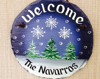 Handpainted Personalized small evergreen snowflake welcome winter sign