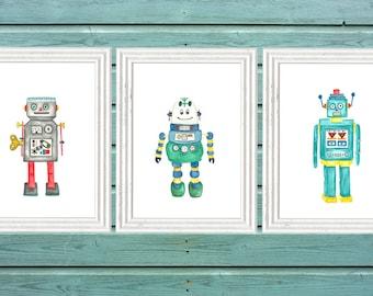 Robot Art Watercolour Print, Vintage Robot Boys Room, Boys robot nursery, back to the future room, Robot Wall Art