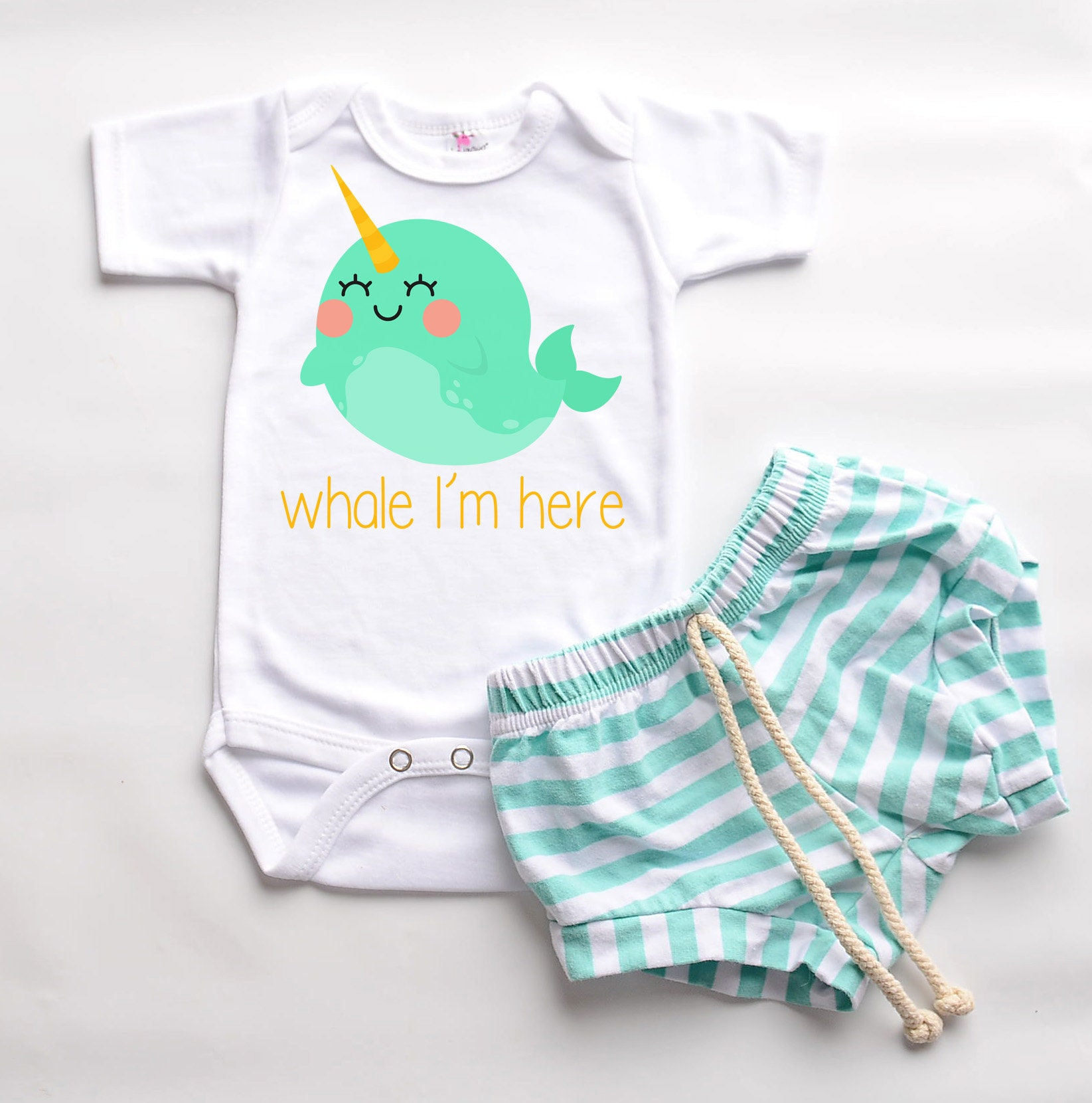 Baby girl boy clothes beach narwhal infant newborn clothing