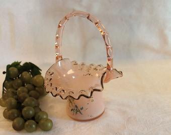 Antique Victorian Era Pink Glass Bride's Basket