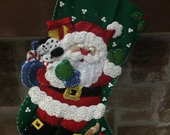 Decorative Christmas Stocking: Santa with Cat