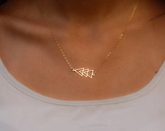 Geometric Triangle Necklace, Gold filled, Sterling silver, Gift ideas for her, Triangle Necklace, Gold Triangle Necklace, Silver Necklace