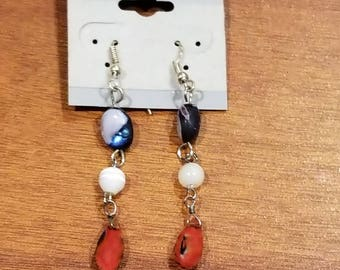 Patriotic glass and stone earrings