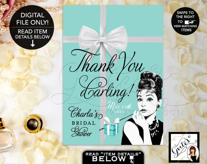 Thank You Sign Personalized, Audrey Hepburn Party Signs, Thank You, Breakfast at, bridal shower decorations. {4x6 or 5x7}. Gvites