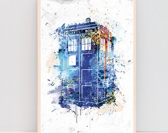 SALE! Tardis Print, dorm decor, dr who gifts, Tardis Art Watercolor, gifts for boyfriend, Dr.who poster, dr.who tardis, blue tardis ET_383