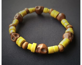 Mini Skulls Yellow Wood Beads Bracelet
