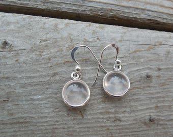 Rose quartz earrings handmade in sterling silver