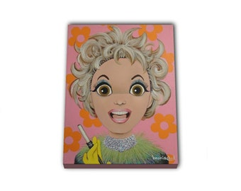 Audacious Big Eyed Phyllis Diller portrait. Canvas Print of an Acrylic On Canvas Painting. Hand signed.