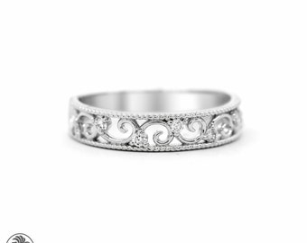 Wedding Band, Diamond band,Anniversary Band, Band With scallops,18 karat White Gold Band, Milligrain Band, 7th Anniversary Band | LDR02275