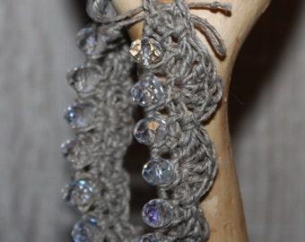 Boho crocheted linen thread bracelet crystal beads