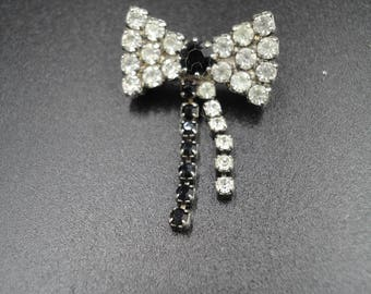 Vintage Clear and Black Rhinestone/Diamante Bow/Ribbon Brooch/Pin - 1950s - Glitz, Glamour