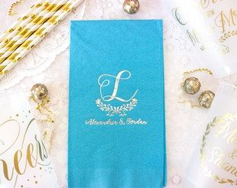 Wedding Guest Towels, Wedding Napkins, Personalized Napkins, Silver Wedding Decor, Monogram Napkin, Wedding Gift, Silver Metallic Foil