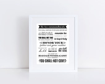 The Ten Commandments, Scripture Art, Bible Verse, Christian Decor, Christian Art, Scripture Print, Scripture,8x10 Instant Download Printable
