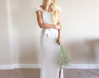 Aimee / Backless Wedding Dress / simple and elegant wedding dress with low back. Bohemian Beach wedding.