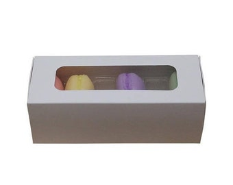 TAX SEASON Stock up 5 Pc Pretty White Cut Out Window Front Macaron Boxes with Inserts 6 1/4 x 2 1/4 x 2 inches