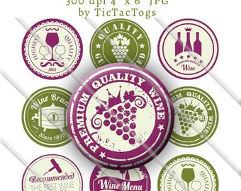 Wine Badge Sayings Bottle Cap Digital Art Collage Set 1 Inch Circle Stickers Burgundy and Green 4x6 - Instant Download - BC571