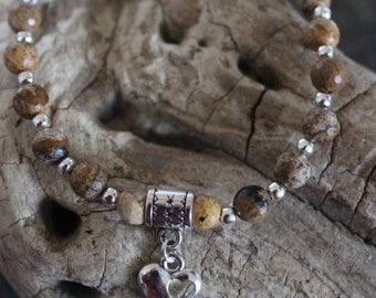 Lovely bracelet with semi precious Picture Jasper beads and heart charm