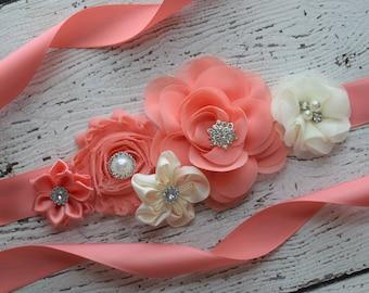 Flower Sash, ivory coral Sash , flower Belt, maternity sash, flower girl sash, baby shower sash