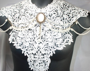 cream lace necklace.  Make a statement with this necklace bib with pearls