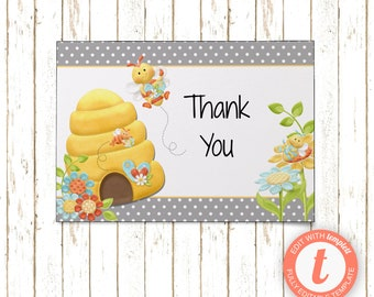 Bumble Bee Gray Cards | Thank You Cards | Editable Printable PDF or JPEG | Instant Download | Templett | BSI292TY